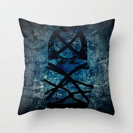 Blueprint Bondage (background) Matryoshka  / Nesting Doll  Throw Pillow