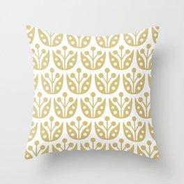 Mid Century Flower Pattern Gold Throw Pillow