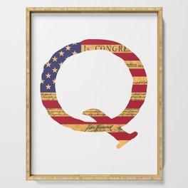 Qanon The Great Awakening MAGA USA WWG1WGA Declaration of Independence Shirt Serving Tray