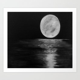 Moonlit. Sunset, water, moon, full moon, orginal painting by Jodilynpaintings. Black and white Art Print