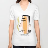 cigarettes V-neck T-shirts featuring Cigarettes by Brian Sisson