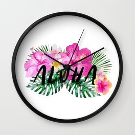 ALOHA - Tropical Flowers, Palm Leaves and Typography Wall Clock