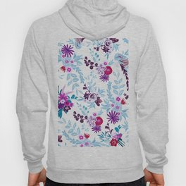 Abstract pastel blue pink country flowers pattern Hoody