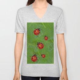 RED LADY BUGS ON GREEN LEAVES DESIGN ART Unisex V-Neck