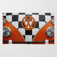 vw Area & Throw Rugs featuring VW Checkers by Alice Gosling