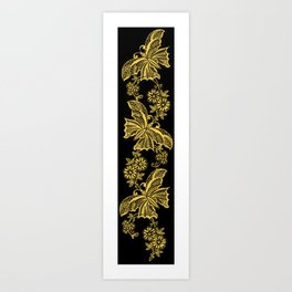 Lace Butterflies Primrose Yellow Art Print
