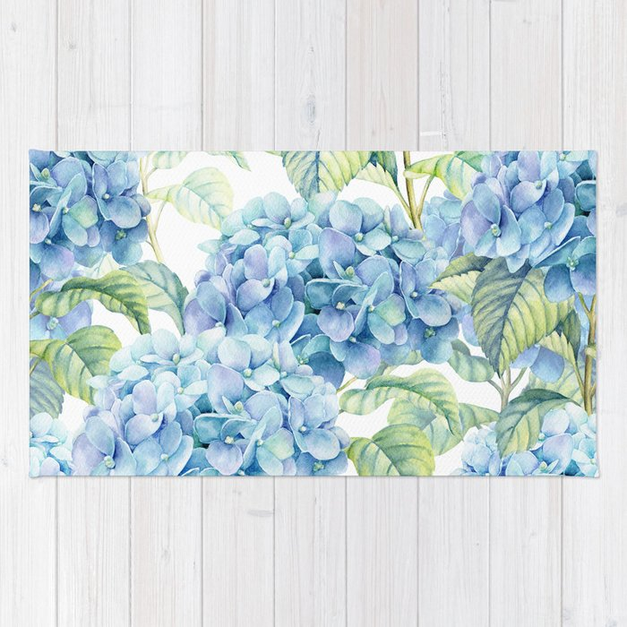 Super Blue Hydrangea Rug by julianarw | Society6 BJ24