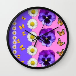 PINK-LILAC & PURPLE PANSY DAISY SPRING FLOWERS Wall Clock