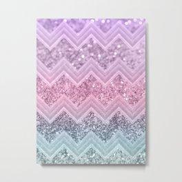 Unicorn Glitter Chevron #1 #pastel #shiny #decor #art #society6 Metal Print