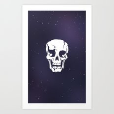 Cracked Up Skull in Space Art Print