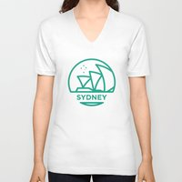 sydney V-neck T-shirts featuring Sydney by BMaw