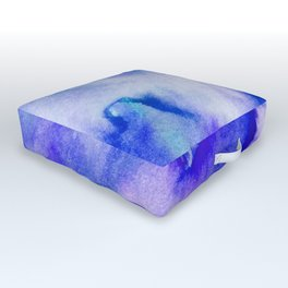 Watercolor texture - electric blue Outdoor Floor Cushion