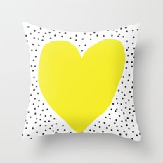 Yellow heart with grey dots around Throw Pillow