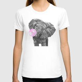 Bubble Gum Elephant Black and White T-shirt