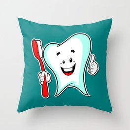 Dental Care happy Tooth with Toothbush Throw Pillow