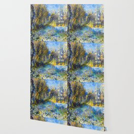 Renoir Snow Covered Landscape Wallpaper