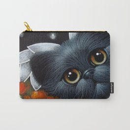 FANTASY BLACK PERSIAN ANGEL CAT & POPPPIES Carry-All Pouch