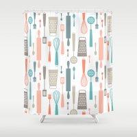 kitchen Shower Curtains featuring Kitchen utensils by Heleen van Buul