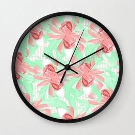 Candy Stripe Pink Blush Floral Wall Clock