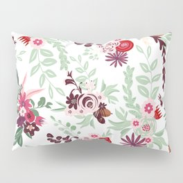 Abstract red pastel green pink country floral pattern Pillow Sham