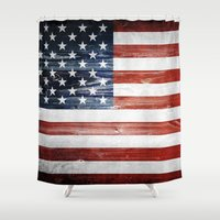 american flag Shower Curtains featuring American flag by Nicklas Gustafsson