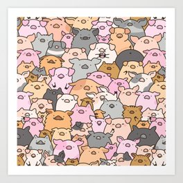 Pigs, Piglets & A Swine! Art Print