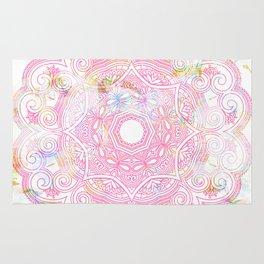 Pastel pink mandala ornament design Rug