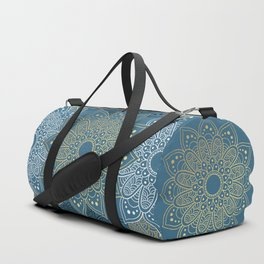 GOLDEN MANDALA ON BLUE Duffle Bag