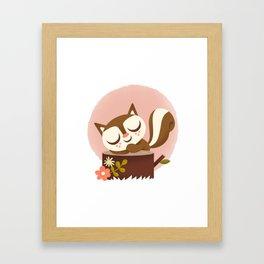 Sleeping Squrrel - Cute Animals Framed Art Print