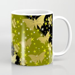 golden butterflies, small asian flowers on black background Coffee Mug