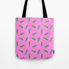 Green Glitter Lightning Bolts in Pink Tote Bag