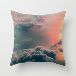 glitched clouds Throw Pillow