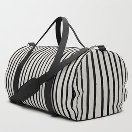 Vertical Black and White Watercolor Stripes Duffle Bag
