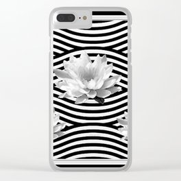 Black & White Water Lilies Water Garden Clear iPhone Case