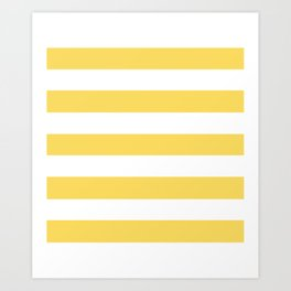 Naples yellow - solid color - white stripes pattern Art Print