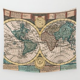Vintage Map of The World (1740) Wall Tapestry