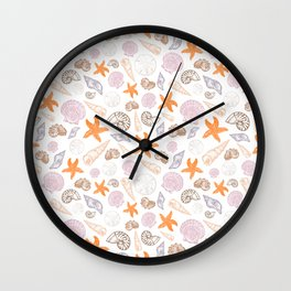 Seashell Print Wall Clock