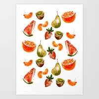 fruits Art Prints featuring Fruits by Jenny Viljaniemi