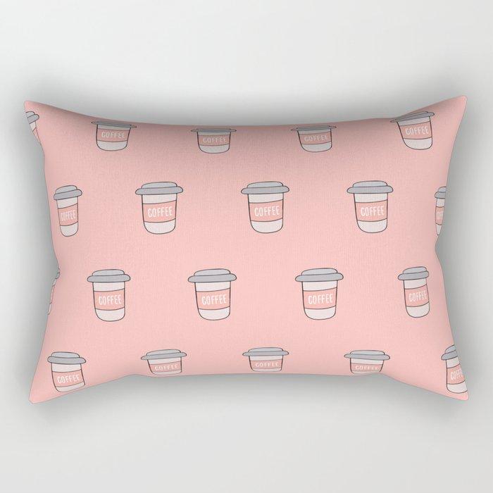 Coffee pattern in pink Rectangular Pillow