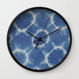 Indigo Shibori Circles Wall Clock