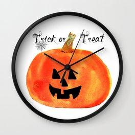 Trick or Treat Jack-O-Lantern, Halloween Pumpkin Wall Clock