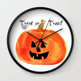 Trick or Treat Jack-O-Lantern, Halloween Pumpkin Wall Clock