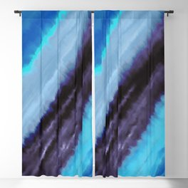 Geometric abstract navy blue teal classic blue watercolor Blackout Curtain