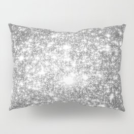 Silver Gray Galaxy Sparkle Stars Pillow Sham