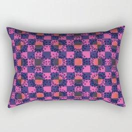 Blue Flower Check Rectangular Pillow