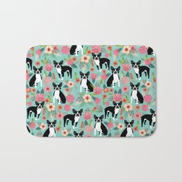Floral Boston Terrier cute flowers spring bouquet love valentines day black and white mint dogs Bath Mat