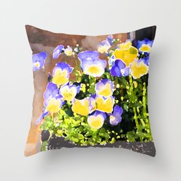 Blue and Yellow Pansies Throw Pillow