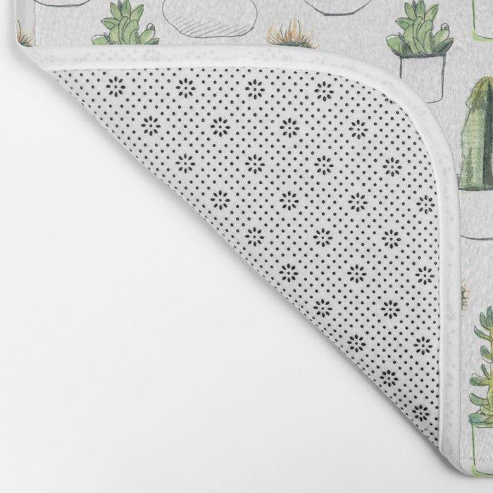 Watercolour Cacti & Succulents Bath Mat