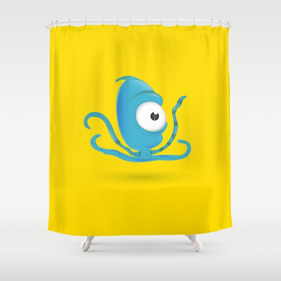Octopus Blue/Yellow Shower Curtain