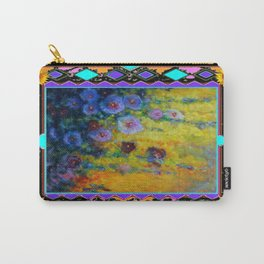 Blue Hollyhock Painting in Western Style Design Carry-All Pouch
